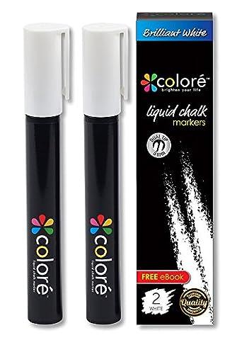 Marqueurs à craie liquide couleur brillant–6mm ogive et pointe biseautée, blanc, 2 Pack