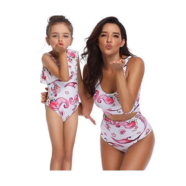 Costumi da Mare Madre e Figlia Moda Bikini Floreale Due Pezzi Boho Hippie Chic Tankini con Volant Uguale Abbigliamento… 2 spesavip