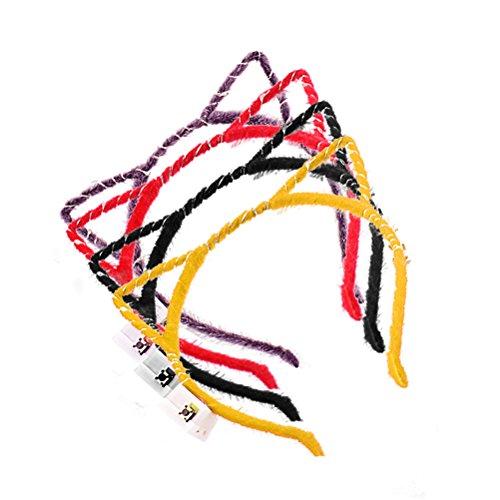(Toyvian Katzenohren Stirnbänder mit LED Katzenohren Haarbänder Haarschmuck für Frauen Mädchen Party Cosplay Kostüm Gastgeschenk 4 Stück (Schwarz,Lila,Rot,Gelb))