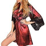 MRULIC Damen leichte Seide Kimono Dressing Nachtwäsche Dessous, Babydoll Spitze Gürtel Bademantel Nachtwäsche Elegante Satin Kleid Robe Silk Satin Nachtwäsche Pyjama(B-Rot,EU-34/CN-S)
