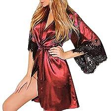 MORCHAN Femmes Sexy Soie Kimono Vêtement Babydoll Dentelle Lingerie Ceinture Robe De Bain Robe De Nuit