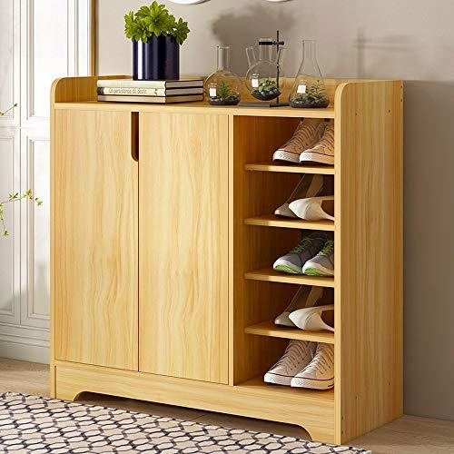 Schuhregal Schuhschrank mit modernem Design Zeitgenössischer Schuhschrank aus Holz mit 2 Türen und offenen Regalen Schuhregal für Flur Schlafzimmer ( Farbe : Walnut+whiteA , Größe : 80*30*80cm ) -