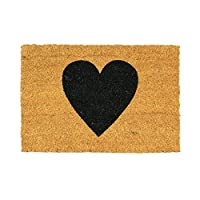 Nicola Spring Non-Slip Coir Door Mat - 40 x 60cm - Black Heart - PVC Backed Welcome Mats Doormats