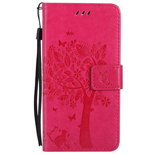 Cozy Hut Huawei ShotX/Honor 7i Hülle, Premium Leder Flip Case im Bookstyle Folio Cover Kartenfächer Magnetverschluss und Standfunktion Leder Schale Etui für Huawei ShotX/Honor 7i - Rose Red