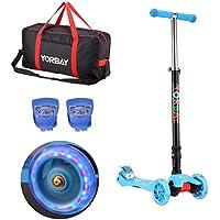 Yorbay Patinete Scooter Freestyle Plegable Rueda de LED Máx.carga 60kg con 2x Luces de la rana y Bolsa de transporte (Azul)