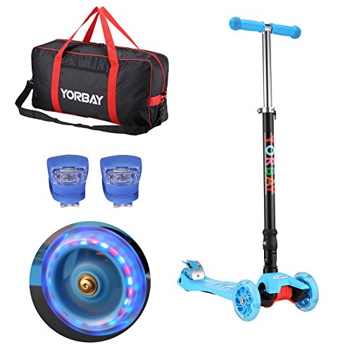 Yorbay Klappbar Kinder Scooter Roller mit LED Rollen Belastbar bis 60KG mit 2X LED Silikonleuchte und Tragetasche (Blau)