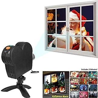 Luces portátiles para proyectores de Halloween, soporte pivotante de 360   grados: 12 películas integradas, adaptador de CA gratuito, para luces navideñas para decoraciones de fiestas de cumpleaños