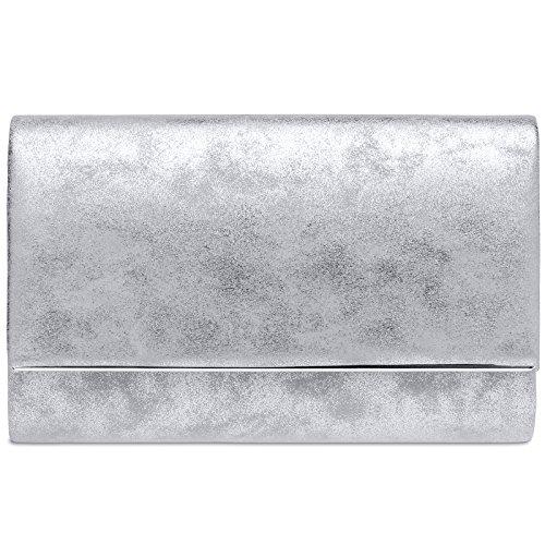 CASPAR TA381 Damen elegante Envelope Clutch Tasche / Abendtasche mit langer Kette, Farbe:silber;Größe:One Size