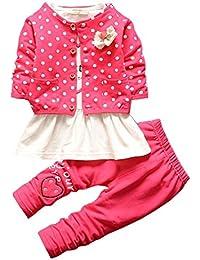 BOBORA 3 Pcs Ensmeble Bebe Filles Enfants Polka Dots Manteau + Chemise +  Leggings Pantalon da5a9aa0c07