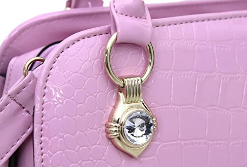 Busta Borsa Borsa Mamma Bag Polso Messenger Tracolla Portatile Pelle Verniciata Purple