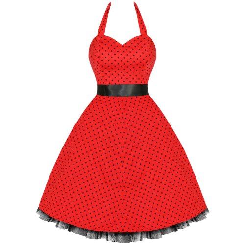 Hearts And Roses London Pois Années 50 Rockabilly Pinup Fête Robe Swing Bal De Promo avec exclusivité Starlet Sac Fourre-tout Rouge avec petits pois noirs