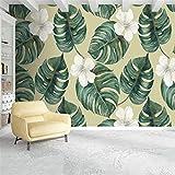 YUANLINGWEI Benutzerdefinierte Wandbild Tapete Custom 3D Wallpaper Moderne Pflanze Abstrakt Verlässt Floral Fototapete Wandbilder,100cm (H) X 200cm (W)