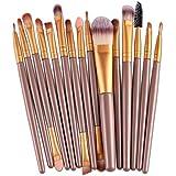 Oshide 15 Stück Professionelle Makeup Bürsten Kosmetik Set Foundation Powder Lidschatten Augenbraue Eyeliner Lippen Make…