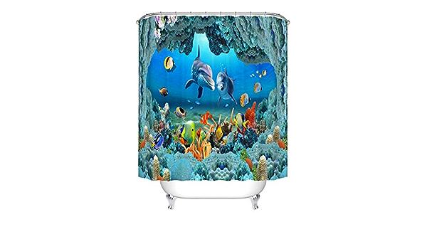 A Decorazione Tenda da Doccia 3D Mondo subacqueo Delfini Pesce Corallo Vita Marina Sfondo Blu Tende da Bagno Tessuto Impermeabile Arredo Bagno Set con Ganci N