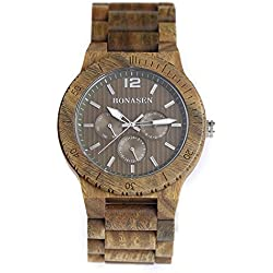 BS ® Handmade Lightweight Wooden Wrist Watch Luxury Green Sandalwood With Day Date Function A Gift Idea BNS-160F