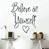 SMILEQ Lovely Quotes Wall Stickers Believe In Yourself Removable Decal Art Vinyl Mural Home Room Decor (A)
