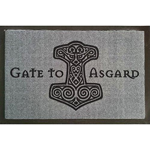 Türvorleger Fußmatte mit Motiv - Gate to Asgard - Thorhammer - Gr. ca. 60cm x 40cm - 25036 - Schmutzmatte Fußabtreter