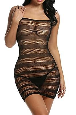Avidlove Womens Chemise Stretch Fishnet Lingerie Striped Strap Mini Dress