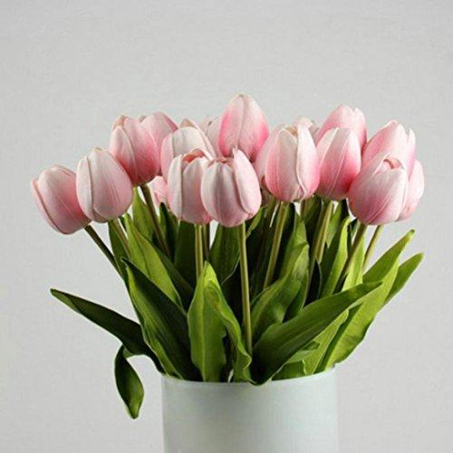 Hffan Unechte Blumen Tulip Künstliche Blume Latex Real Touch Braut Hochzeit Bouquet Home Decor, 10 stücke DIY kunst Plastikblumen künstliche Blume Wohnaccessoires & Deko Kunstblumen (rosa, 35CM*18CM)