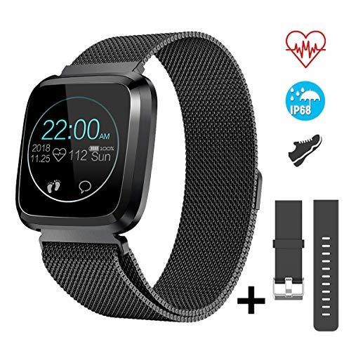 CatShin Fitnessuhr Smartwatch mit Herzfrequenzmessung Wasserdicht IP68 Fitness Armbanduhr 1,3 Zoll Farbbildschirm Fitness Tracker,Aktivitätstracker Pulsuhren,Schrittzähler für Damen Herren (schwarz)
