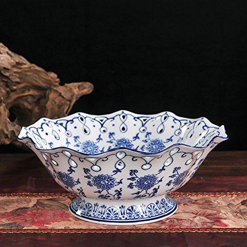 MLGG Keramik Obst Platte Handgefertigte Blaue Und Weiße Obst Platte, C