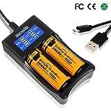 Sidiou Group USB Batterieladegerät Ladegerät von doppelem Schlitz LCD-Anzeige Ladegerät intelligente Ladegerät Vielseitige Ladegerät geeignet für Lithium-Batterie Nickel -Metallhydrid-Batterie /Nickel-Cadmium-Batterie(keine Batterien enthalten)