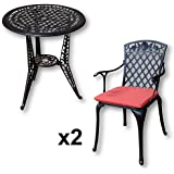 Lazy Susan Furniture - Ivy Bistro Table with 2 Chairs - Cast aluminium garden set, Antique Bronze (Rose chairs, Terracotta cushions)