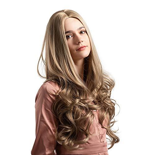 (Perücke Lange lockiges Haar Perücke Synthese getrennt welliges Haar Kostüm Cosplay Partei Salon Spitze ist nicht vorne)