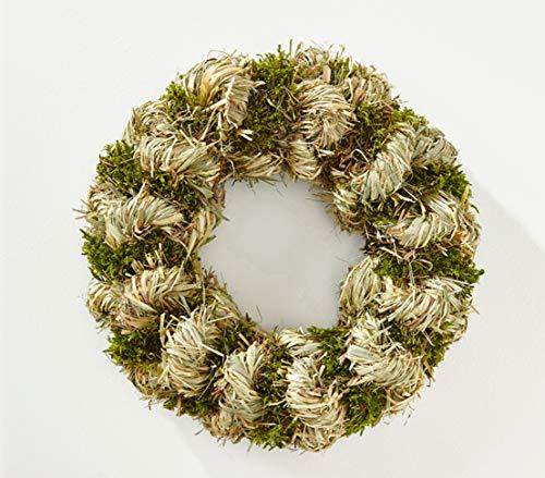 Dekokranz Heu, rund gebunden, Ø ca. 30 cm, Heu/Moos, braun/grün