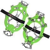 ALPIDEX Ramponi Ghiaccio Neve Ramponi Antiscivolo Ghiaccio Scarpe 21 Denti Acciaio, Taglia:XL, Colore:Green