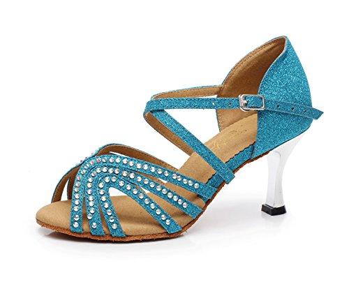 JSHOE Cristaux Féminins Sparking Satin Latin Salsa Chaussures De Danse/Tango/Chacha/Samba/Moderne/Chaussures De Jazz Sandales Talons Hauts,Blue-heeled7.5cm-UK3.5/EU34/Our35