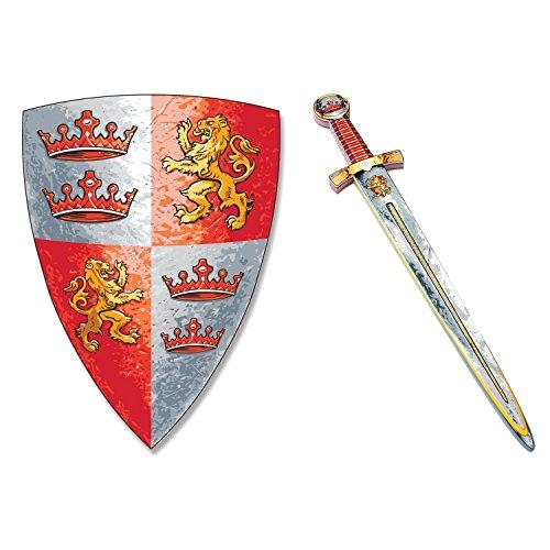 BestSaller 162599 Premium Soft Line Ritter Schild & Schwert 'Prinz Lionheart', rot/grau, 2-teilig (1 Set) (Schaum Piraten Schwert)