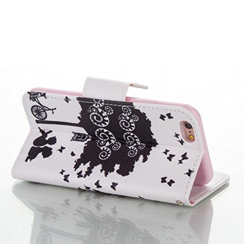 iPhone 6S Custodia, Felfy Flip in PU pelle Portafoglio Custodia Cover Gatto Design per Apple iPhone 6/6S, Portafoglio Wallet / Libro /Cuoio Chiusura Magnetica Porta carte di Protettiva Tasca Copertina C2