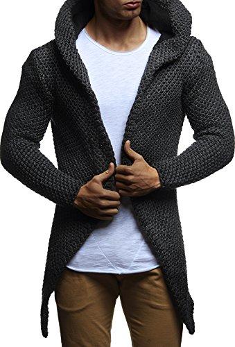 LEIF NELSON Herren Kapuzenpullover Strickjacke Hoodie Jacke Sweatjacke Zipper Sweatshirt LN20742 Anthrazit