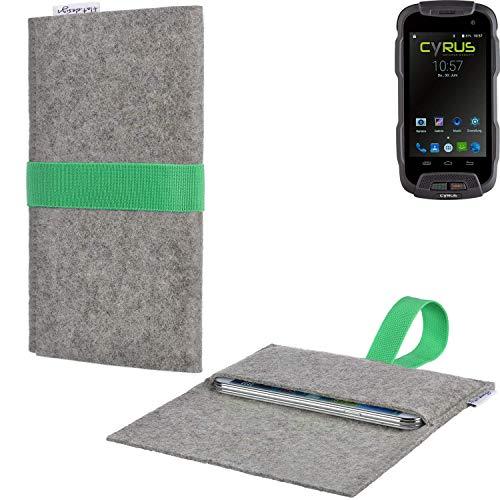 flat.design Handyhülle Aveiro mit Filz-Deckel und Gummiband-Verschluss für Cyrus CS 23 - Sleeve Case Etui Filz Made in Germany hellgrau grün - passgenaue Smartphone Tasche für Cyrus CS 23