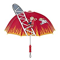 Kidorable Red Fireman Umbrella for Boys w/Fun Fire Hydrant Handle, Pop-Up Ladder Flames, Kid Sized