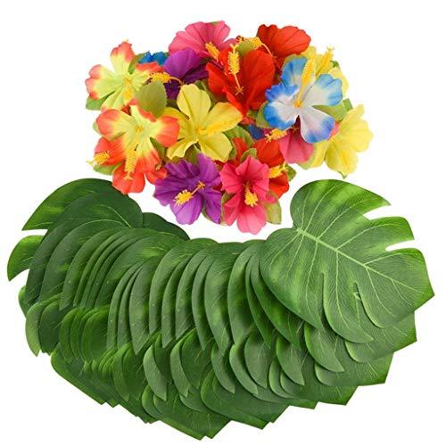 ZEELIY 60 Stück Künstliche Grün Pflanze Künstliche Tropische Blätter Grünes für Büro und Zuhause, Hochzeit Dekor Garten Wanddekoration Pflanzenblatt Hawaiian Party Thema