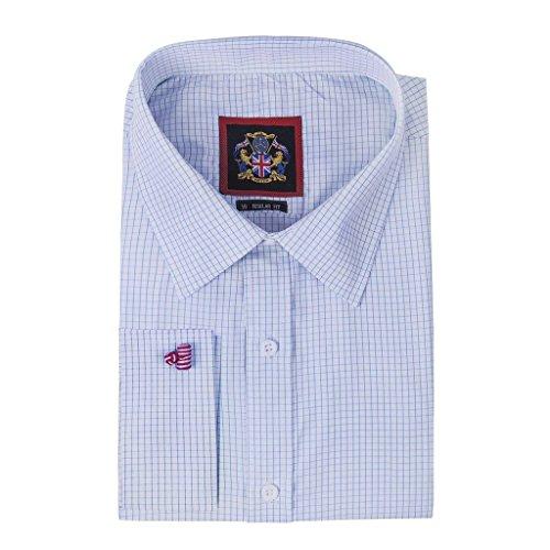 Janeo Men's Shirts - Camicia classiche - A quadri - Maniche lunghe - Uomo, Blue (Double Cuff), 45,72 cm