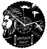 Horloge Murale en Vinyle Cadeau Fait Main Décorations Pour la Maison Home Barber Shop Coiffeur Barbe Cheveux Salon Beauté