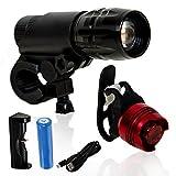 Biluso LED Fahrradlicht Set - Wasserdichte Fahrradbeleuchtung für vorne und hinten - USB aufladbare Scheinwerfer - Geeignet für die meisten Mountainbikes - Fahrradlampe - Batterien im Lieferumfang enthalten - Höchste Sicherheit auf der Straße