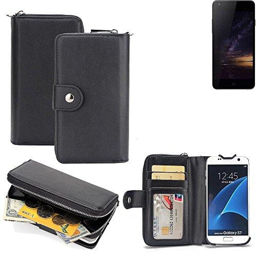 K-S-Trade 2in1 Handyhülle für Siswoo I8 Panther hochwertige Schutzhülle & Portemonnee Tasche Handytasche Etui Geldbörse Wallet Case Hülle schwarz