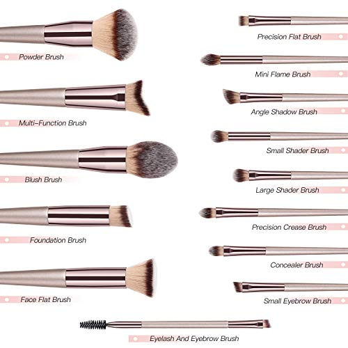 Makeup Brushes BESTOPE 14 Pcs Premium Synthetic Make up Brushes Champagne Gold Brushes for Foundation Kabuki Blush Concealer Eyeshadow