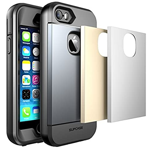 iPhone SE Case, SUPCASE Water Resistant Full-body Rugged Case with Built-in Screen Protector for Apple iPhone SE 2016 Release, 3 Interchangeable Covers,(Gun Metal/Silver/Gold)