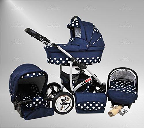 True Love Larmax Kinderwagen Komplettset (Autositz & Adapter, Regenschutz, Moskitonetz, Schwenkräder) 77 Softblue & White Dots