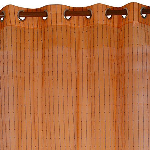 Swadeshi Store Handloom Cotton Single Piece Ready Window Sheer Curtain-60 IN x 44 IN, Orange & Blue