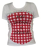 Trachten Shirt Damen Corsage Tuniken Mieder Baumwolle Kurzarm Weiß Rot XXXL