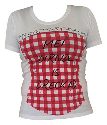 Trachtenblusen Trachten Shirt Damen Corsage Tunika Mieder Baumwolle Kurzarm Weiß Rot Weiß