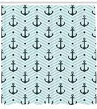 Abakuhaus Duschvorhang, Aqua Blaues Anker im Zickzack Muster im Wellen Hintergrund Simples Einfarbiges Muster Grafik, Blickdicht aus Stoff inkl. 12 Ringe für Das Badezimmer Waschbar, 175 X 200 cm