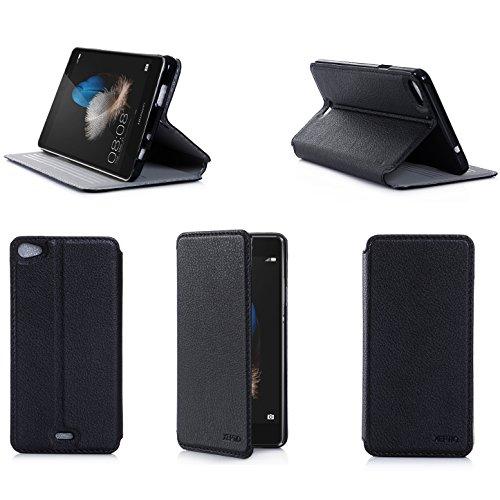 Ultra Slim Tasche Leder Style Huawei Ascend P8 Lite 4G Dual Sim Hülle Schwarz Cover mit Stand - Zubehör Etui Huawei Ascend P8 LITE 2015 Flip Case Schutzhülle (PU Leder, Schwarz) - XEPTIO accessoires
