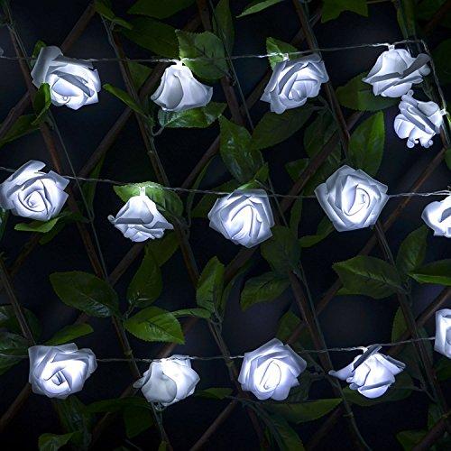 Homedecoam 20 LED Rosa Lichterkette Leuchte Batteriebetrieb für Party Zimmer Weihnachten Hochzeit Beleuchtung Deko Weiß